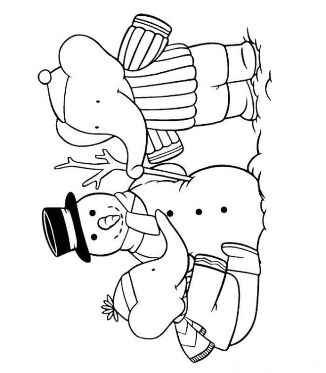 Coloriage et dessins gratuits Alexandre et Pom construit l'homme de neige à imprimer