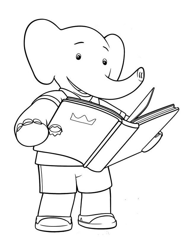 Coloriage et dessins gratuits Alexandre lit un livre à imprimer