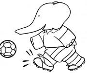 Coloriage Babar :Alexandre joue au ballon