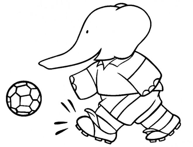 Coloriage et dessins gratuits Babar :Alexandre joue au ballon à imprimer