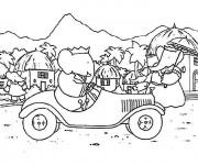 Coloriage Babar conduit sa voiture