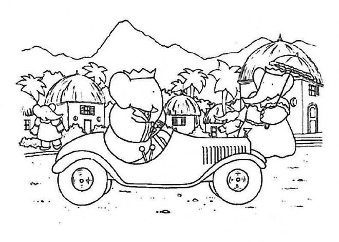 Coloriage et dessins gratuits Babar conduit sa voiture à imprimer