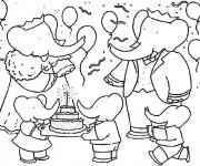Coloriage et dessins gratuit Babar dans une fête d'anniversaire à imprimer