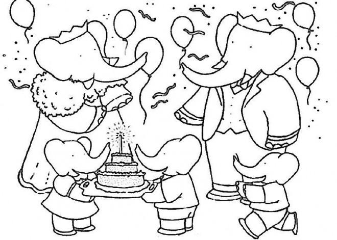 Coloriage et dessins gratuits Babar dans une fête d'anniversaire à imprimer