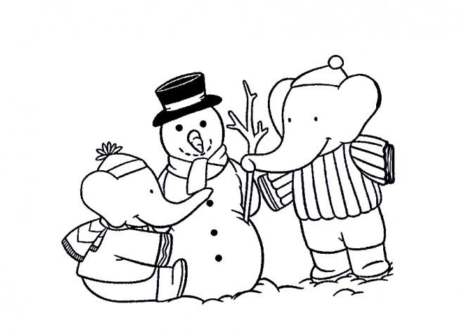 Coloriage et dessins gratuits Babar en Noël à imprimer