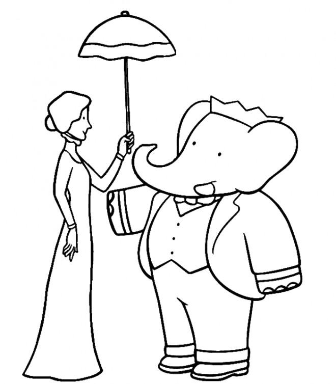 Coloriage et dessins gratuits Babar et Christelle à imprimer