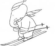 Coloriage Babar fait du ski