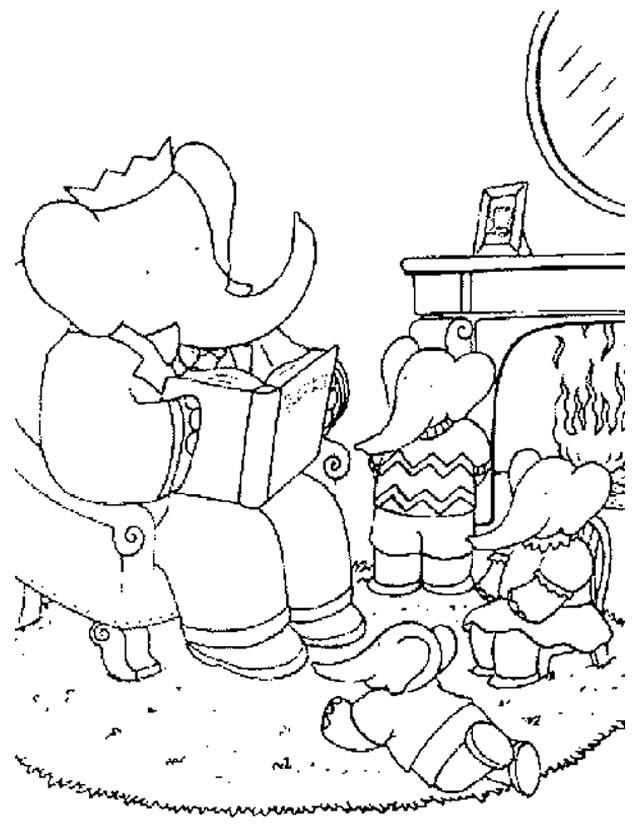 Coloriage et dessins gratuits Babar lit à ses enfants à imprimer