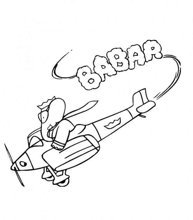 Coloriage et dessins gratuits Babar pilote un avion à imprimer