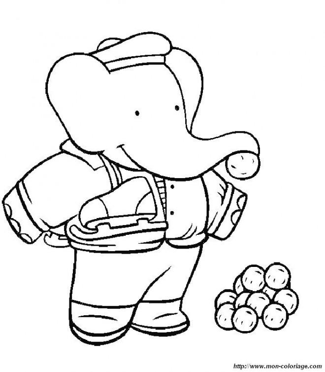 Coloriage et dessins gratuits Babar: Pom s'amuse à imprimer