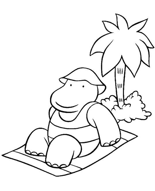 Coloriage et dessins gratuits Babar s'étend en plage à imprimer