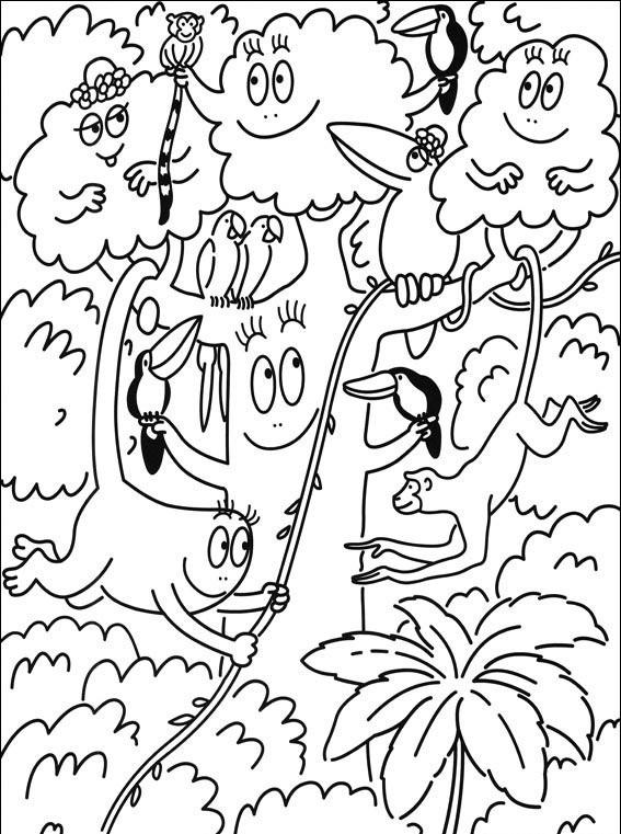 Coloriage et dessins gratuits Barbapapa en jungle à imprimer