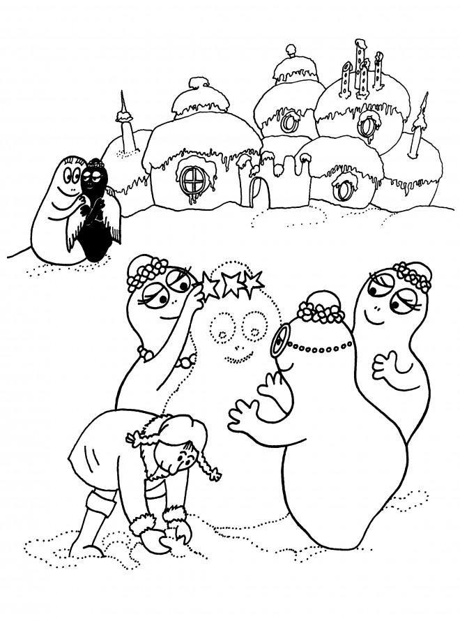 Coloriage et dessins gratuits Barbapapa en Noel à imprimer