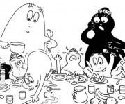 Coloriage Les Barbapapas à table