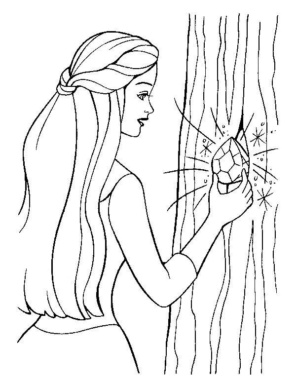 Coloriage et dessins gratuits Barbie découvre une pierre précieuse à imprimer