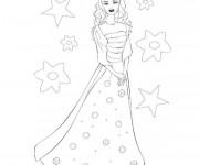Coloriage et dessins gratuit Barbie en robe soirée à imprimer