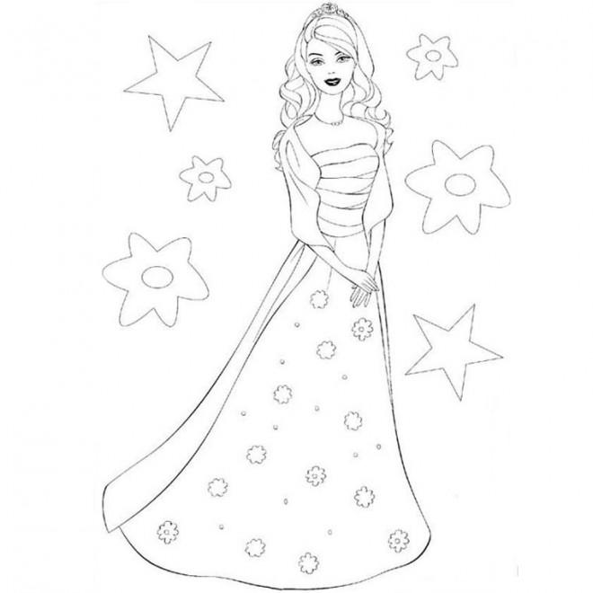 Coloriage et dessins gratuits Barbie en robe soirée à imprimer