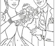 Coloriage et dessins gratuit Barbie est offert un bouquet de fleur à imprimer