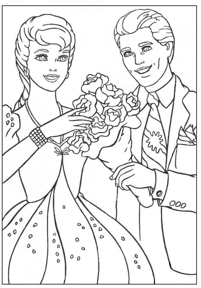 Coloriage et dessins gratuits Barbie est offert un bouquet de fleur à imprimer