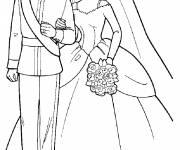 Coloriage et dessins gratuit Barbie et Ken le mariage à imprimer