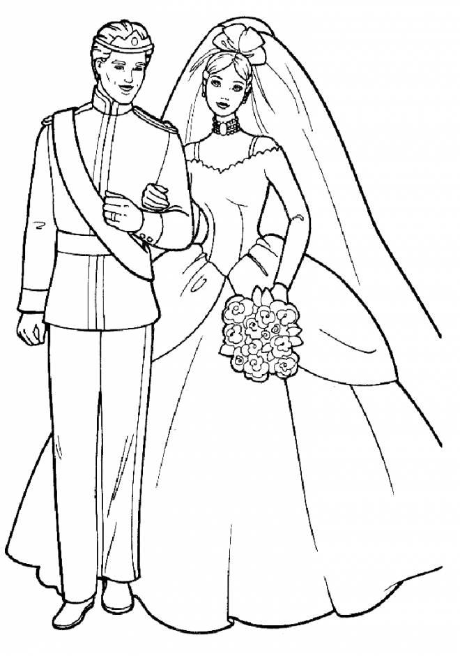Coloriage et dessins gratuits Barbie et Ken le mariage à imprimer