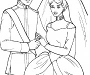 Coloriage et dessins gratuit Barbie et Ken se marient à imprimer