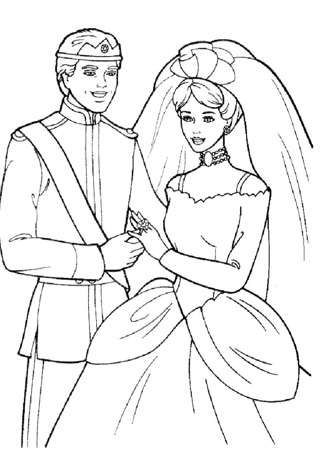 Coloriage et dessins gratuits Barbie et Ken se marient à imprimer