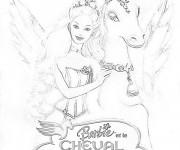 Coloriage Barbie et le cheval magique