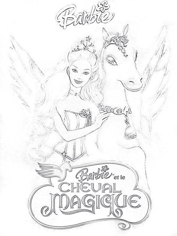 Coloriage barbie et le cheval magique dessin gratuit imprimer - Barbie et le cheval ...