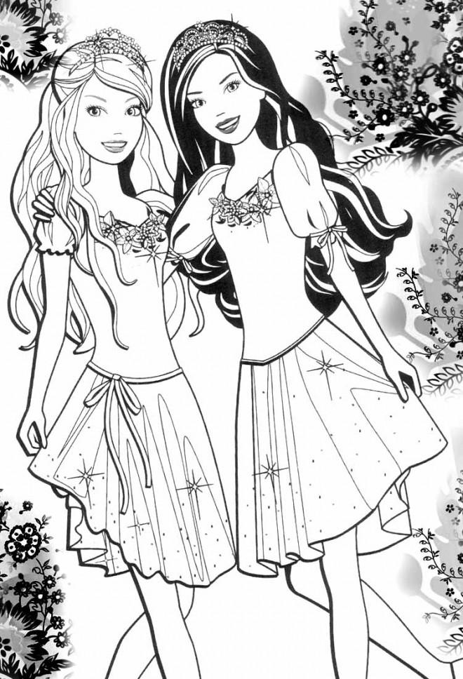 Coloriage et dessins gratuits Barbie et son amie à imprimer