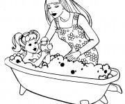 Coloriage Barbie et son bébé