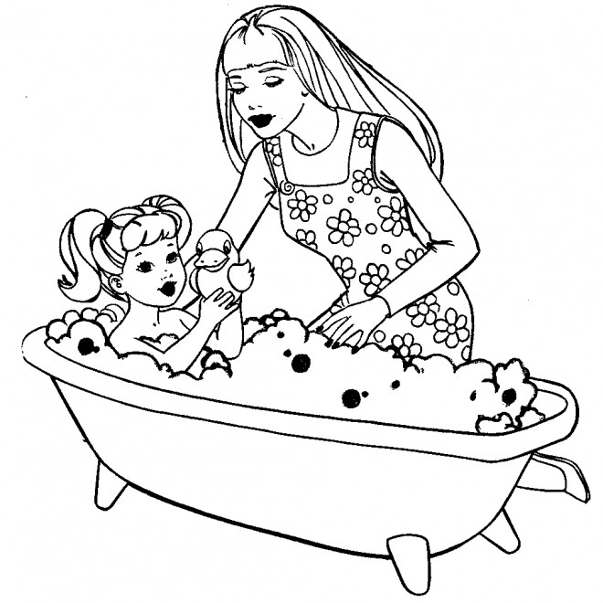 Coloriage Barbie Et Son Bébé Dessin Gratuit à Imprimer