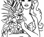 Coloriage Barbie et son bouquet de fleurs