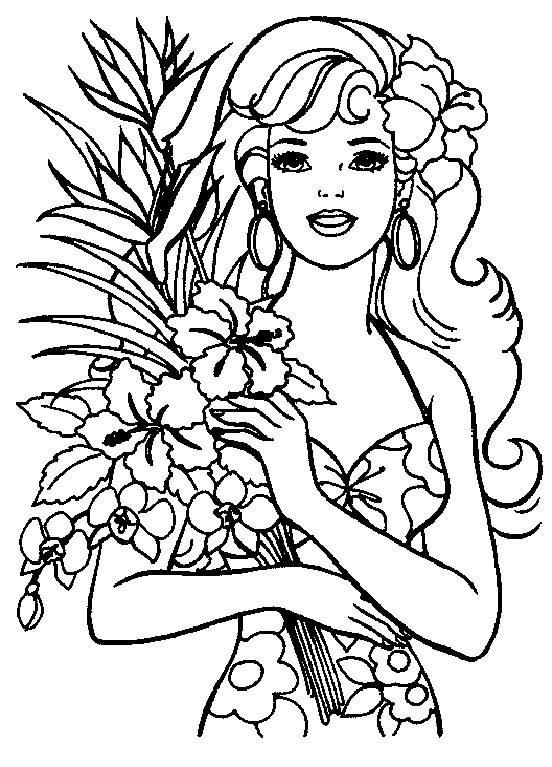 Coloriage Barbie et son bouquet de fleurs dessin gratuit à imprimer