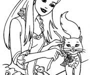 Coloriage Barbie et son chat
