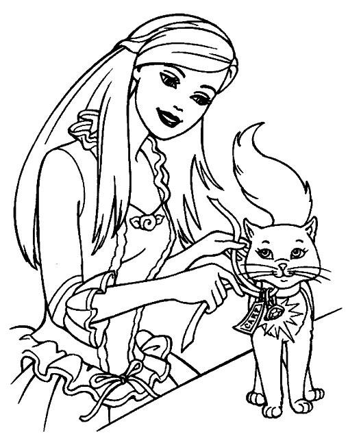 Coloriage et dessins gratuits Barbie et son chat à imprimer