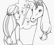 Coloriage Barbie et son cheval