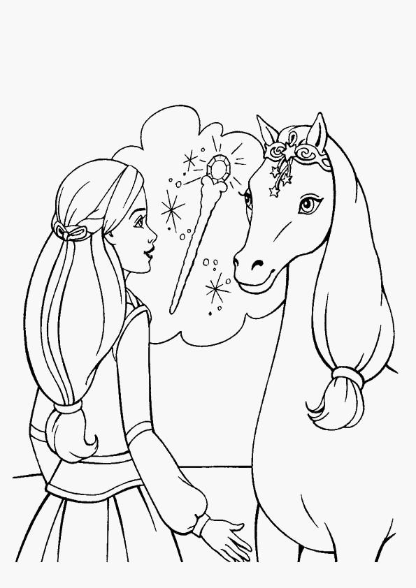 Coloriage et dessins gratuits Barbie et son cheval à imprimer