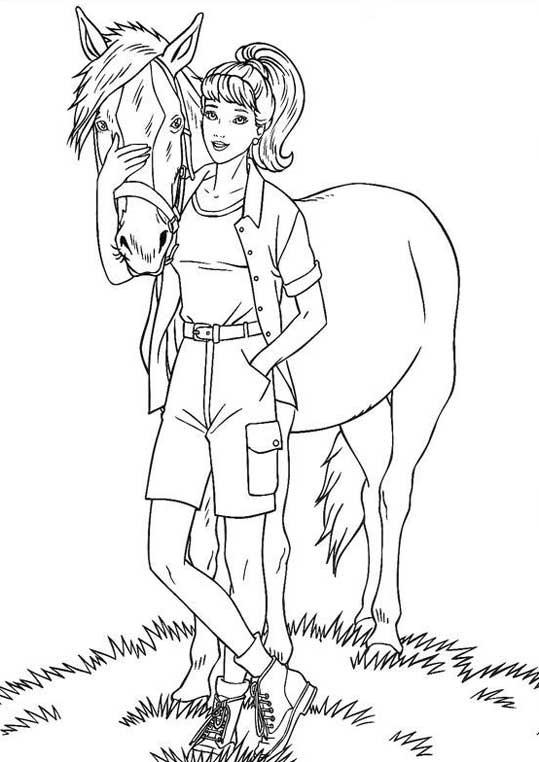 Coloriage et dessins gratuits Barbie et son cheval en ligne à imprimer
