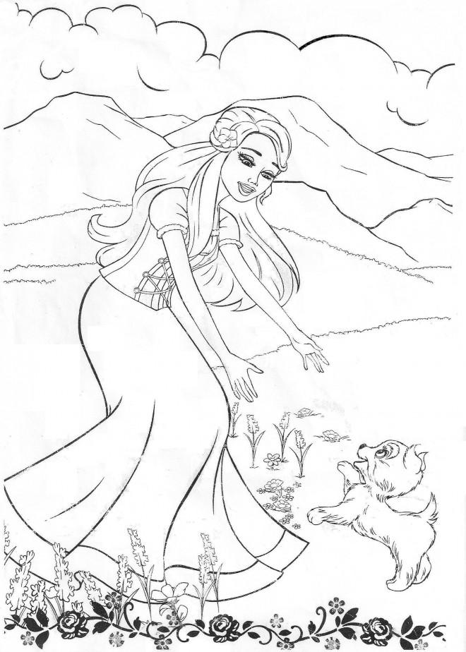Coloriage et dessins gratuits Barbie et son chien à imprimer