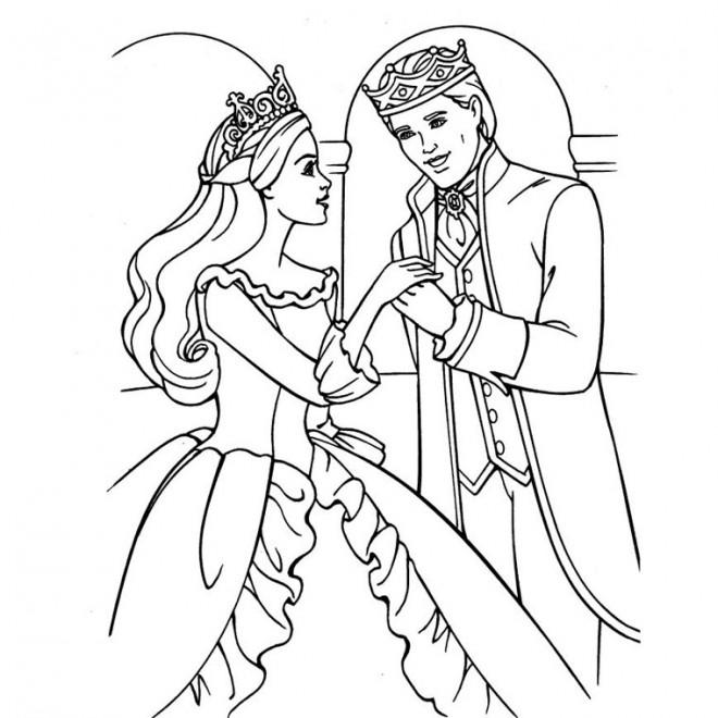 Coloriage barbie et son prince dessin gratuit imprimer - Prince et princesse dessin ...