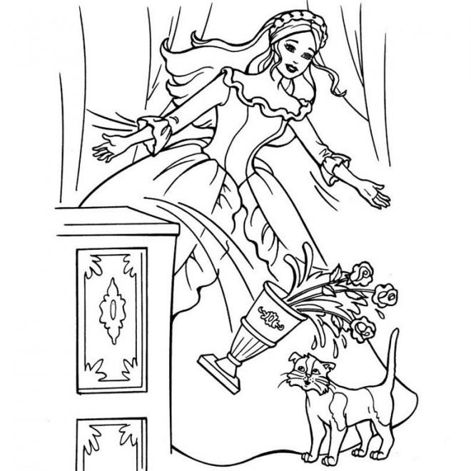 Coloriage et dessins gratuits Barbie fait tomber le vase à imprimer