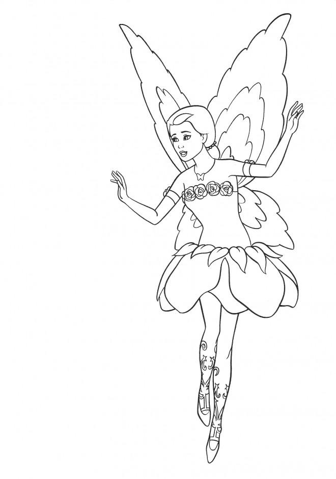 Coloriage et dessins gratuits Barbie fée à imprimer