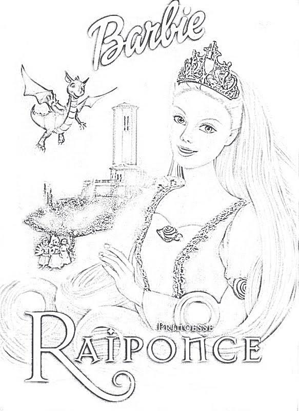 Coloriage Barbie format A4 dessin gratuit à imprimer