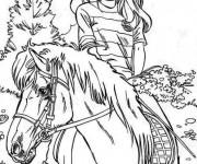 Coloriage Barbie se promène sur son cheval