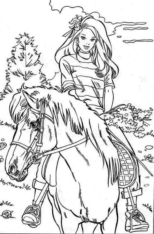 Coloriage et dessins gratuits Barbie se promène sur son cheval à imprimer
