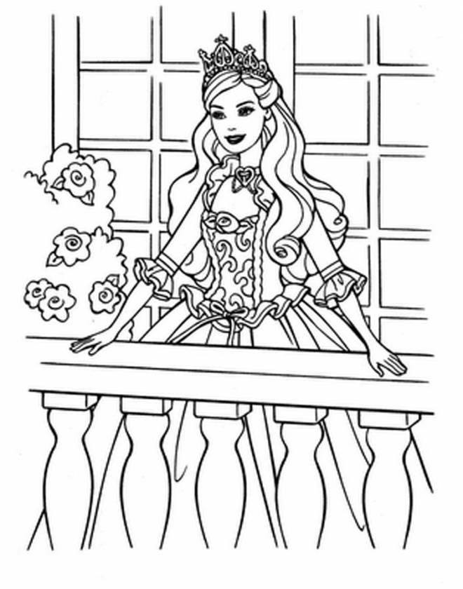 Coloriage et dessins gratuits Barbie sur son balcon à imprimer