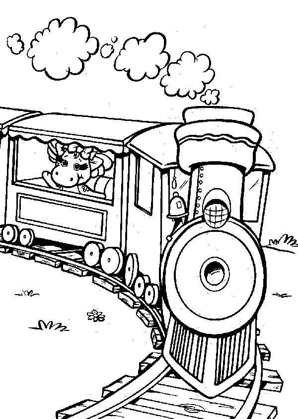Coloriage et dessins gratuits Baby Bop dans le train à imprimer