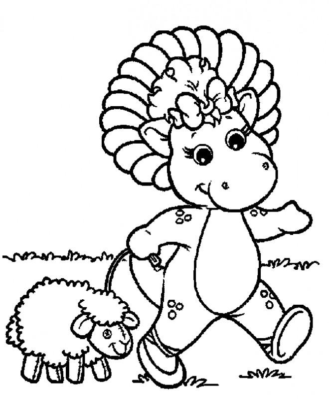 Coloriage et dessins gratuits Baby Bop se  balade avec son mouton à imprimer