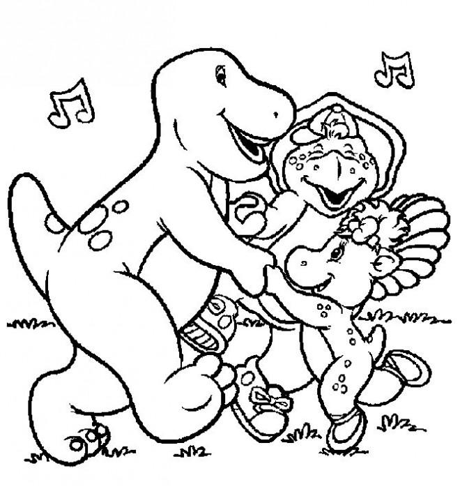 Coloriage et dessins gratuits Barney, Bj et Baby Bop dansent à imprimer